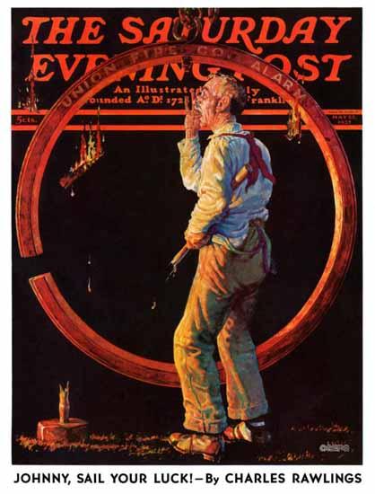 Monte Crews Saturday Evening Post Sounding Fire Alarm 1937_05_22 | The Saturday Evening Post Graphic Art Covers 1931-1969