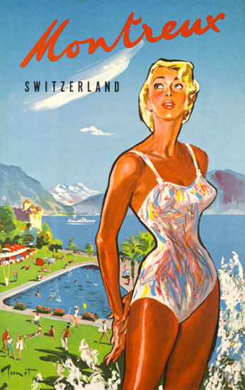 Montreux Suisse Switzerland 1960s Lake Geneva | Sex Appeal Vintage Ads and Covers 1891-1970