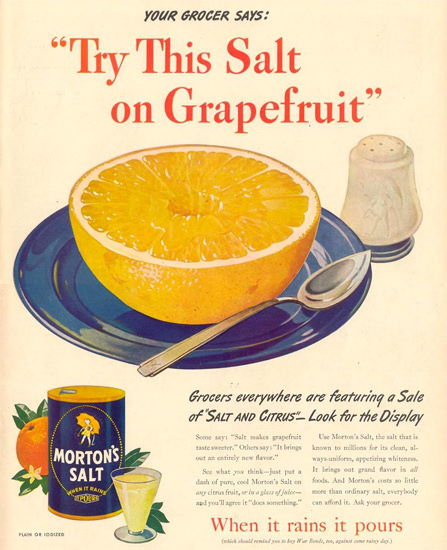 Morton Salt 1944 Try This Salt On Grapefruit | Vintage Ad and Cover Art 1891-1970