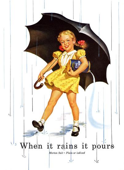 Morton Salt 1952 When It Rains   Vintage Ad and Cover Art 1891-1970