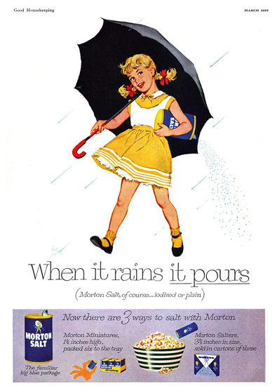 Morton Salt 1957 When It Rains | Vintage Ad and Cover Art 1891-1970