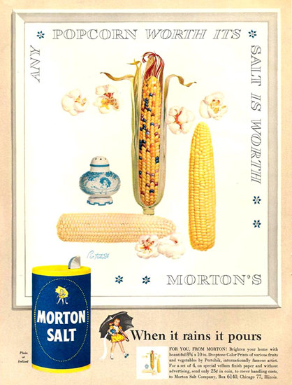 Morton Salt Popcorn Is Worth 1954 | Vintage Ad and Cover Art 1891-1970
