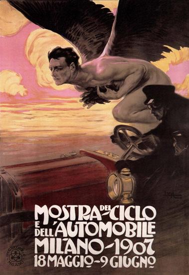 Mostra Del Ciclo E Dell Automobile 1907 Milano | Vintage Ad and Cover Art 1891-1970