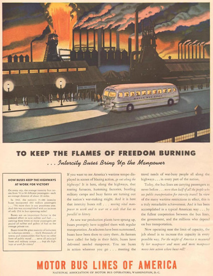 Motor Bus Lines Of America Industry 1943 | Vintage Travel Posters 1891-1970