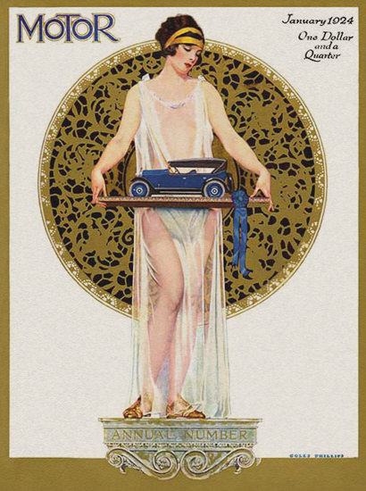Motor Magazine January 1924 Coles Phillips | Sex Appeal Vintage Ads and Covers 1891-1970