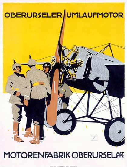 Motorenfabrik Oberursel Umlaufmotor Germany | Vintage War Propaganda Posters 1891-1970