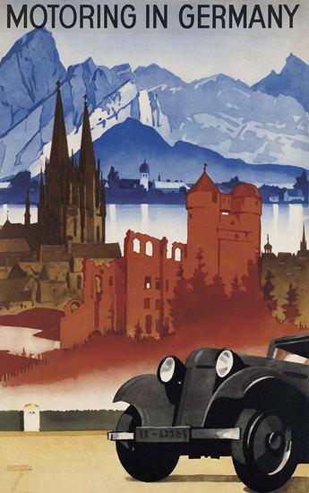 Motoring In Germany Deutschland Castles Lakes | Vintage Travel Posters 1891-1970