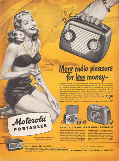 Motorola Portables Radio Beach Girl | Sex Appeal Vintage Ads and Covers 1891-1970