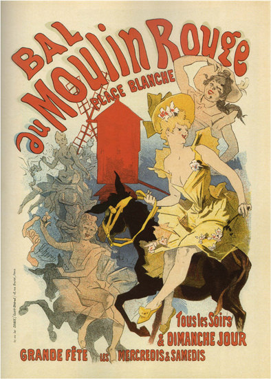 Moulin Rouge Place Blanche Paris Jules Cheret | Sex Appeal Vintage Ads and Covers 1891-1970