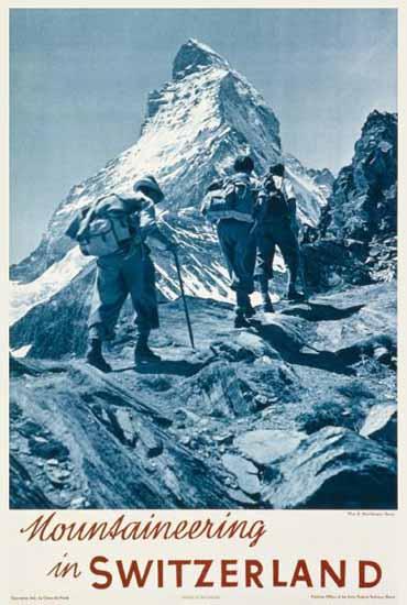 Mountaineering In Switzerland Matterhorn Zermatt 1930 | Vintage Travel Posters 1891-1970