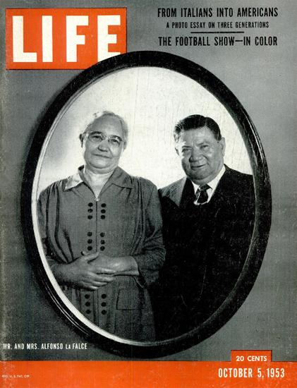Mr and Mrs Alfonso LaFalce 5 Oct 1953 Copyright Life Magazine | Life Magazine BW Photo Covers 1936-1970