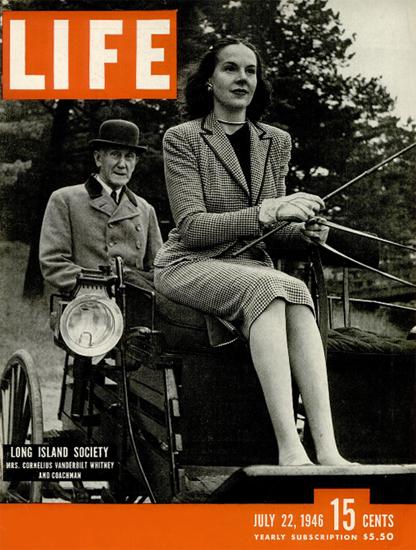 Mrs Cornelius Vanderbilt Whitney 22 Jul 1946 Copyright Life Magazine | Life Magazine BW Photo Covers 1936-1970