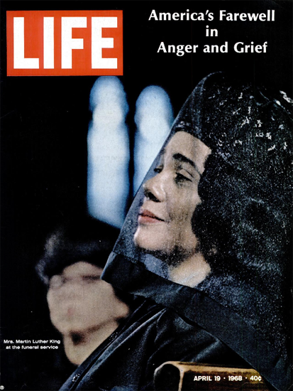 Mrs Martin Luther King at Funeral 19 Apr 1968 Copyright Life Magazine | Life Magazine Color Photo Covers 1937-1970
