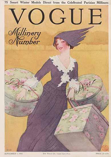 Mrs Newell Tilton Vogue Cover 1911-09-01 Copyright | Vogue Magazine Graphic Art Covers 1902-1958