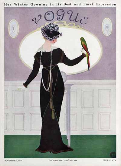 Mrs Newell Tilton Vogue Cover 1911-11-01 Copyright | Vogue Magazine Graphic Art Covers 1902-1958