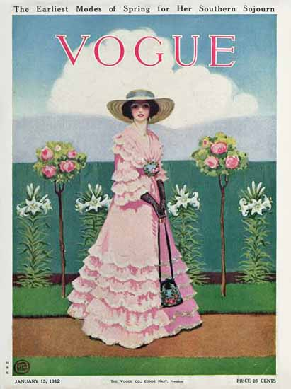 Mrs Newell Tilton Vogue Cover 1912-01-15 Copyright | Vogue Magazine Graphic Art Covers 1902-1958