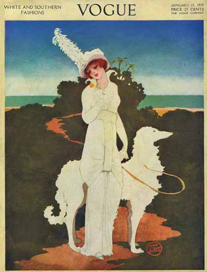 Mrs Newell Tilton Vogue Cover 1913-01-15 Copyright | Vogue Magazine Graphic Art Covers 1902-1958