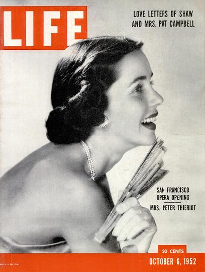 Mrs Peter Thieriot at SF Opera 6 Oct 1952 Copyright Life Magazine | Life Magazine BW Photo Covers 1936-1970