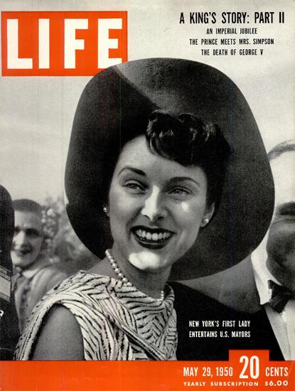 Mrs William ODwyer First Lady NY 29 May 1950 Copyright Life Magazine   Life Magazine BW Photo Covers 1936-1970