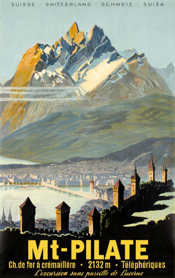 Mt Pilate Lucerne Telepheriques Suisse 1940s | Vintage Travel Posters 1891-1970