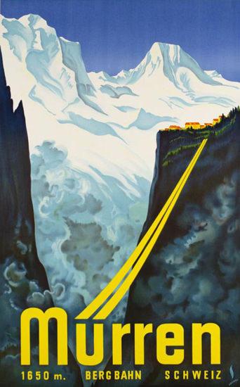 Muerren Bergbahn Schweiz Switzerland 1934 | Vintage Travel Posters 1891-1970
