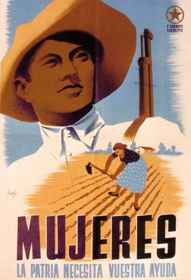 Mujeres La Patria Necesita Vuestra Ayuda Spain | Vintage War Propaganda Posters 1891-1970