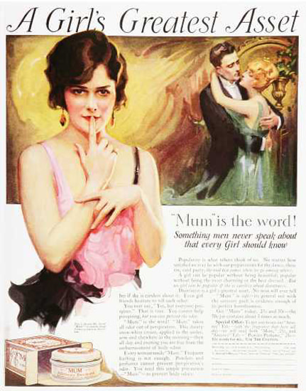 Mum A Girls Greatest Asset 1920s | Sex Appeal Vintage Ads and Covers 1891-1970