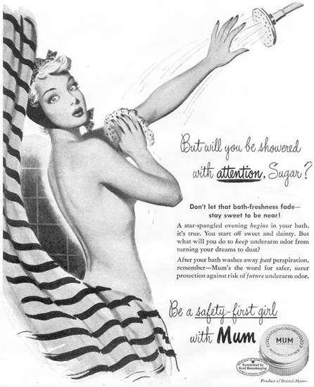 Mum Safety-First Girl Showered Attention 1948 | Sex Appeal Vintage Ads and Covers 1891-1970