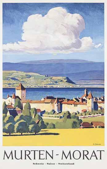 Murten Morat Schweiz Suisse Switzerland 1955 | Vintage Travel Posters 1891-1970