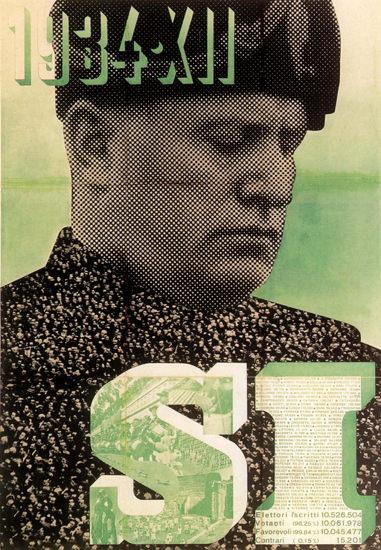 Mussolini SI 1934 Italy Italia | Vintage War Propaganda Posters 1891-1970