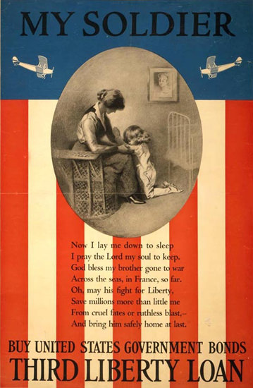 My Soldier Buy United States Government Bonds | Vintage War Propaganda Posters 1891-1970