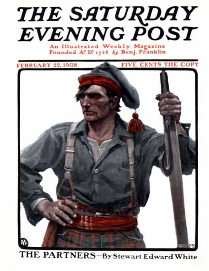 NC Wyeth Saturday Evening Post Cover Art 1908_02_22 | The Saturday Evening Post Graphic Art Covers 1892-1930