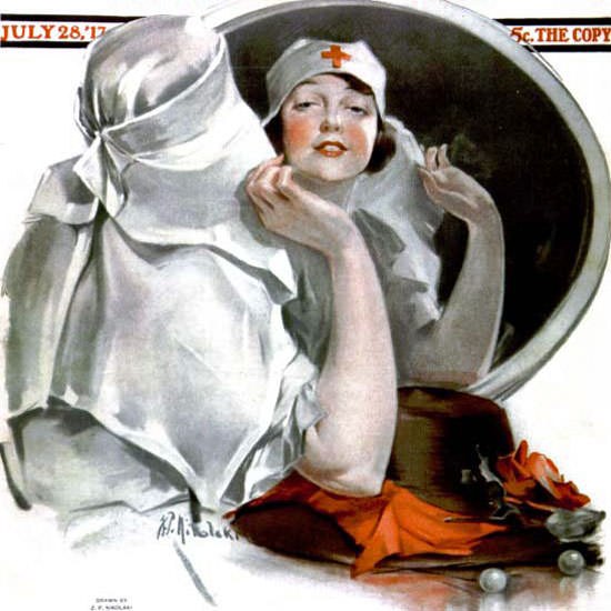 NP Zarokilli Saturday Evening Post Nurse 1917_07_28 Copyright crop | Best of 1891-1919 Ad and Cover Art