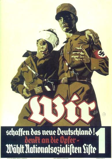 NSDAP Das Neue Deutschland Die Opfer Nazi | Vintage War Propaganda Posters 1891-1970