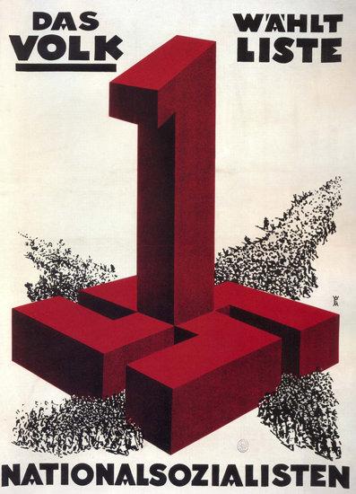 NSDAP Das Volk Waehlt Nationalsozialisten   Vintage War Propaganda Posters 1891-1970