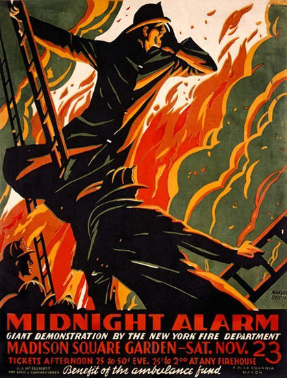 NYFD Midnight Alarm Giant Demonstration | Vintage War Propaganda Posters 1891-1970