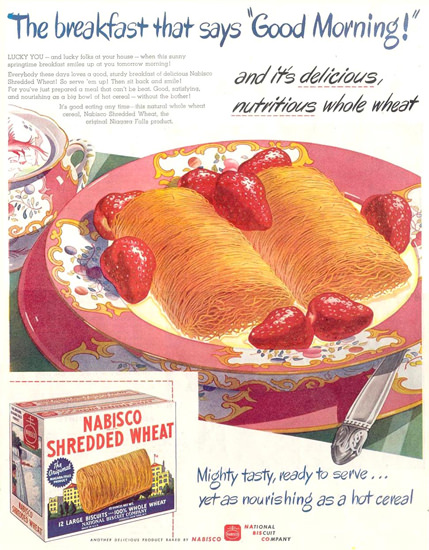 Nabisco Shredded Wheat Good Morning 1945 | Vintage Ad and Cover Art 1891-1970