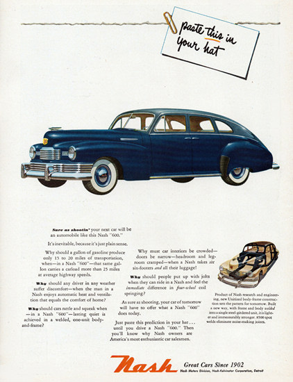 Nash 600 Slipstream Sedan 1948 Since 1902 | Vintage Cars 1891-1970
