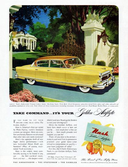 Nash Ambassador Sedan 1952 Golden Airflyte | Vintage Cars 1891-1970
