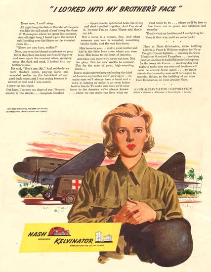 Nash Kelvinator Looked Into Brothers Face 1943 | Vintage War Propaganda Posters 1891-1970