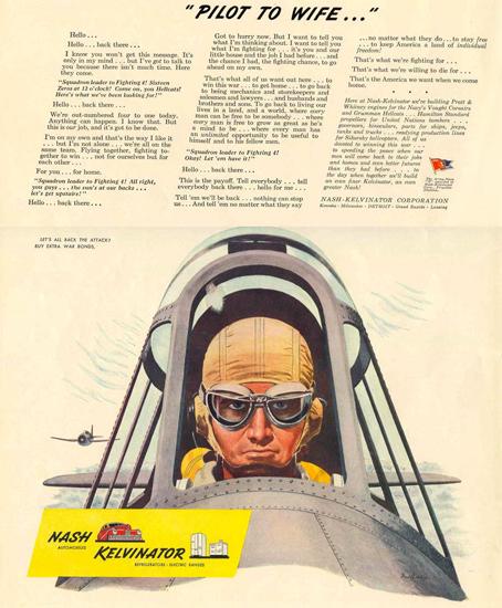 Nash Kelvinator Pilote To Wife 1944 | Vintage War Propaganda Posters 1891-1970
