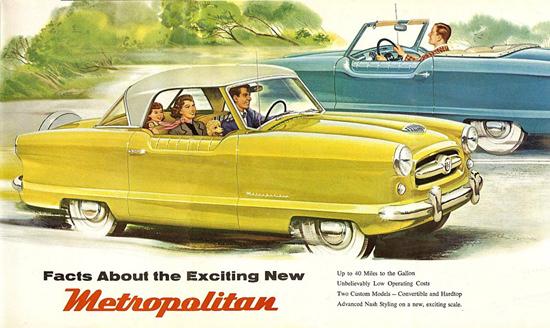 Nash Metropolitan Yellow Blue | Vintage Cars 1891-1970