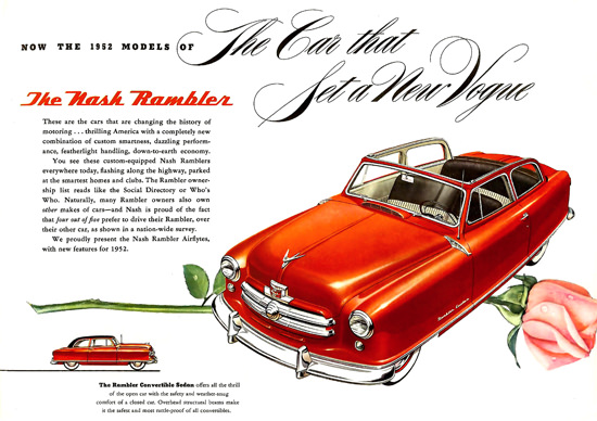 Nash Rambler 1952 Convertible Red | Vintage Cars 1891-1970
