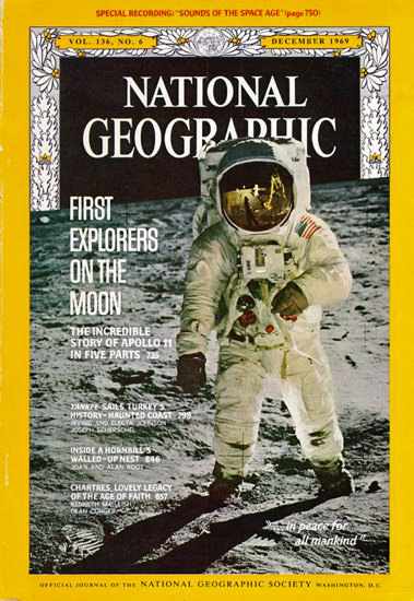 National Geographic Cover On The Moon 1969   Vintage Ad and Cover Art 1891-1970