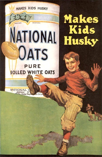 National Oats Pure Rolled Makes Kids Husky | Vintage Ad and Cover Art 1891-1970