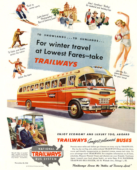 National Trailways Bus System Winter 1948 | Vintage Travel Posters 1891-1970