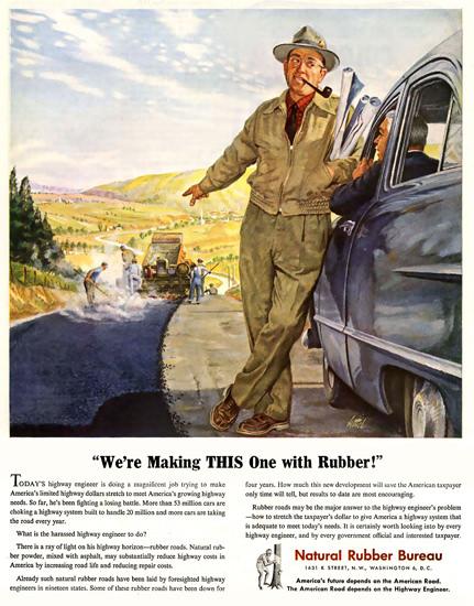 Natural Rubber Bureau Roadman | Vintage Ad and Cover Art 1891-1970