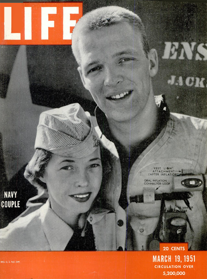 Navy Couple 19 Mar 1951 Copyright Life Magazine | Life Magazine BW Photo Covers 1936-1970