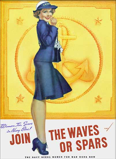 Navy Join the Waves or Spars 1942 George Petty Sex Appeal   Sex Appeal Vintage Ads and Covers 1891-1970