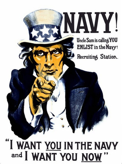 Navy Uncle Sam Is Calling You I Want You Navy | Vintage War Propaganda Posters 1891-1970